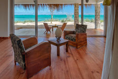 Seaview. Luxury lounge of a suite with seaview in Ankasy, south-west of Madagascar Stock Images