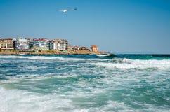 Seaview mit Wellen und Seemöwe Lizenzfreie Stockfotos