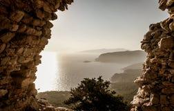 Seaview  on Monolithos,Rodos,Greece. Old ruins , seaview  on Monolithos, Rodos,Greece Royalty Free Stock Photo