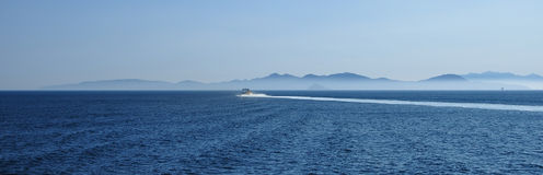 Seaview with motorboat, Elba Island, Italy Stock Photo