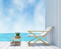 Seaview nell'interior design della stanza bianca nella rappresentazione 3D Fotografia Stock Libera da Diritti