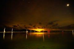 Seaview at night. On Samui island, Thailand Royalty Free Stock Photos