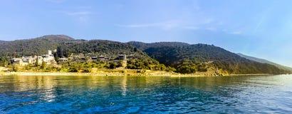 Seaview of the old Dochiariou monastery in Athos mount. Halkidiki , Greece royalty free stock photos