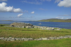 Seaview over the Broch of Gurness stock photography
