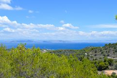 Seaview på den Aegina ön i Grekland Arkivfoto