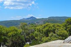 Seaview på den Aegina ön i Grekland Fotografering för Bildbyråer