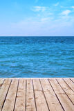 Seaview panorama from wooden deck Stock Images