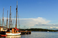 Seaview and sailing ship Royalty Free Stock Images
