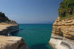 Seaview with sandstone cliffs Stock Photography