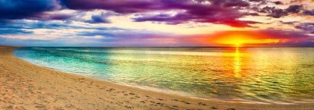 Seaview at sunset. Amazing landscape. Beautiful beach panorama. Seaview at sunset. Amazing landscape. Beautiful beach of Mauritius. Panorama stock photography
