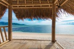 Seaview van bamboehut Royalty-vrije Stock Fotografie
