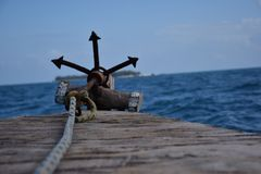 Seaview van een anker zanzibar Stock Afbeelding