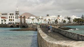 Seawall at Arrecife, Lanzarote, Canary Islands, Spain Royalty Free Stock Image