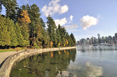 Seawall in the autumn Royalty Free Stock Photos