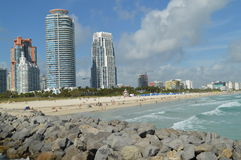 Seawall and beach, South Point Pier, Miami Beach, Florida Stock Photo