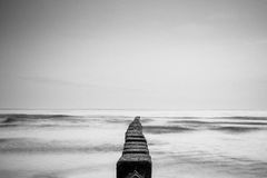 Seawall in black and white Royalty Free Stock Image