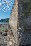 Seawall Erosion. Erosion on a seawall  is revealed at low tide. Location is Des Moiines, Washington Stock Photos