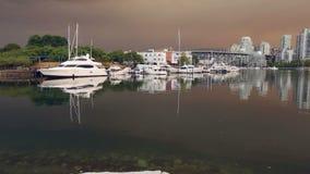 Seawall, False Creek, Marina, Granville Island stock footage