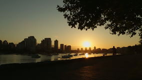 Seawall Jog and Cycle at Sunrise, Vancouver Royalty Free Stock Photo