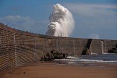 Seawall Splash Royalty Free Stock Photo