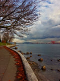 Seawall stanley park docks. Stanley park late in the afternoon view on docks fall Royalty Free Stock Photography