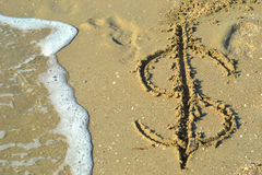 Seawater lavável do dólar do ícone Fotos de Stock Royalty Free
