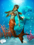 Seawater Mermaid. The Mermaid is a legendary aquatic creature with the upper body of a woman and the tail of a fish Royalty Free Stock Photography
