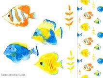 Seawater ryba, przedmioty i bezszwowy wzór, royalty ilustracja