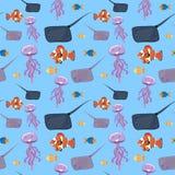 Seawater rybi bezszwowy wzór ilustracja wektor