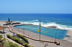 Seawater swimming pool in Bajamar, Tenerife, Spain Stock Images