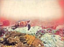 Seawater z zielonym żółwiem Morskiego zwierzęcia fantastyczna cyfrowa ilustracja ilustracja wektor