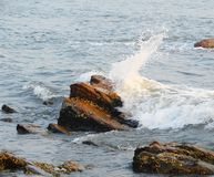 Seawave ударяя против утеса и брызгать капелек воды Стоковые Фотографии RF