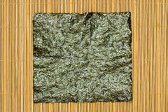Seaweed on bamboo mat Stock Photography