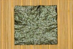 Seaweed on bamboo mat Stock Photography