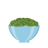 Seaweed in bowl. Vector bowl with seaweed. Natural, healthy food concept. Fresh sea animals collected in the wooden box. Flat design style Stock Photography