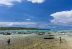 Seaweed farmers at Nusa Lembongan, Bali. Seaweed farmers returning from their boats and parcels with harvest of the day at crystal clear waters of Nusa Lembongan Stock Photography