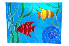 Seaweed and little fish - stained glass. Seaweed and little fish - colour stained glass Royalty Free Stock Photo