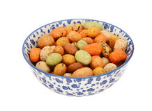 Seaweed peanuts in a blue and white china bowl Royalty Free Stock Photography