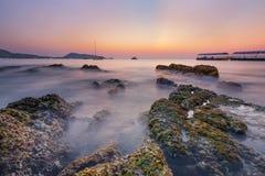 Seaweed rock at Patong beach. Phuket Thailand stock photo