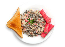 Seaweed salad with crab sticks Royalty Free Stock Photography