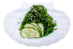 Seaweed salad with cucumber on the plate Royalty Free Stock Photos