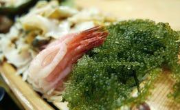 Seaweed salad with raw shrimp sashimi Royalty Free Stock Photography