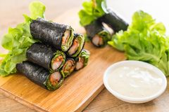seaweed salad roll with crab stick Royalty Free Stock Photography