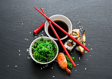 Seaweed salad and sushi Royalty Free Stock Images