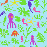 Seaweed, sea horses, jellyfish and other small animals and plants Stock Photos