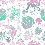 Seaweed seamless pattern. Marine plants silhouette texture. Sea kelp endless vector wallpaper stock illustration