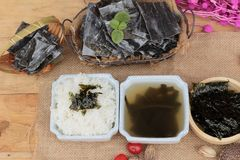 Seaweed soup is delicious and dried seaweed. Royalty Free Stock Images