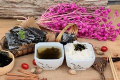 Seaweed soup is delicious and dried seaweed. Royalty Free Stock Image