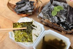 Seaweed soup is delicious and dried seaweed. Stock Photo