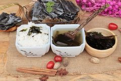 Seaweed soup is delicious and dried seaweed. Stock Photography